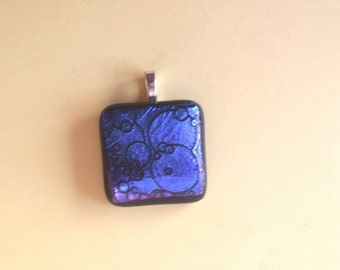 Blue  Etched Dichroic Glass Pendant -  Textured Pendant - Blue Glass Pendant - Fused Glass Pendant - Blue Pendant