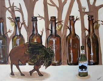 Buffalo Art - Buffalo Beer Print-  8 x 10 Print - Bar Art - Buffalo NY - Buffalove - Beer Art - Bison Print - Contemporary Art
