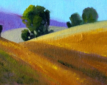 Original Landscape, Oil Painting, Oak Trees, Hillside, Small 5x7 Canvas, Green Gold, Country Fields, Prairie Meadow, Blue Sky, Rural Art