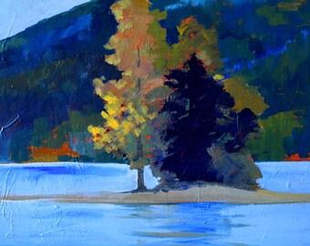 Original Landscape Painting, Lake Island Trees, Autumn Gold, Evergreen Blue, 11x14 Stretched Canvas Acrylic, Northwest Scene, Rural