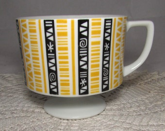 Vintage PorcelainMid Century Modern Footed Coffee Mug Cup with Black & Yellow graphics, collectible, pedestal cup, retro