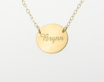 Gold Initial, Name Necklace or Bracelet Engraved - Personalized Jewelry, Disc, Disk, 14K Yellow, Rose, or White Gold Reese Witherspoon