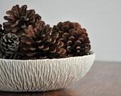 SALE - Oval Geode Serving Bowl - Large White Ceramic Platter Porcelain Fruit Bowl