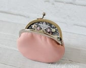Small Leather Coin Purse Light Pink with Liberty of London Floral Lining