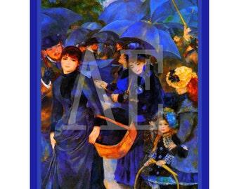 PR-129 Artistic Ephemera Print ~ One 8x10 or Two 5x7s ~ Pierre Auguste Renoir - The Blue Umbrellas