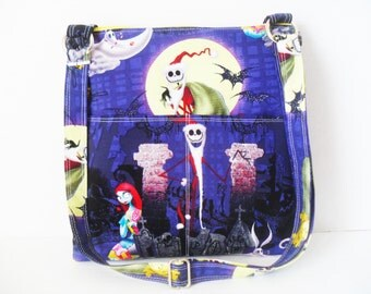 Nightmare Before Christmas Crossbody Bag - Sling messenger bag - Messenger Bag - Ipad Bag - Nightmare Before Christmas bag - Zipper Case
