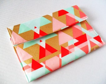 Diaper Clutch - Makeup Bag - Mint - Gold - Coral - Pink - Cosmetic Bag - Small Purse - Make Up Bag - Wipes Case - Bridesmaid Bag