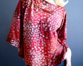 Strawberry Fields - iheartfink Handmade Hand Printed Womens Silky Red Floral Bell Sleeves Boat Neck Top