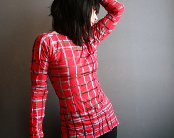 The Next Day - iheartfink Handmade Hand Printed Womens Red Plaid Art Print Long Sleeves Jersey Top