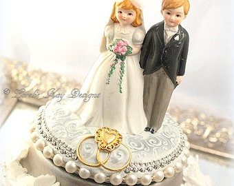 Wedding Music Box  Cute Wedding Couple Special Wedding Ring Box One-of-a-KindAssemblage Ring Bearer Box