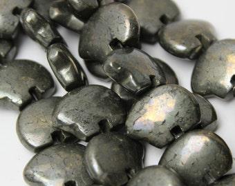 Six RARE Pyrite Zuni Style Bear Fetish Beads Sparkling Fools Gold Metallic Gemstone Southwestern Desert Totem Animal Woodland Rustic Gray