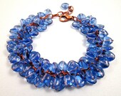 Heart Charm Bracelet, Periwinkle Blue, Copper Cha Cha Style Bracelet, FREE Shipping U.S.