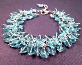 Heart Cha Cha Bracelet, Aqua Blue Sweetheart and Silver Wire Wrapped Charm Bracelet, FREE Shipping U.S.