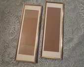 Vintage Lot of 2 Matching Gold Metal Picture Frames 4 x 12 inches
