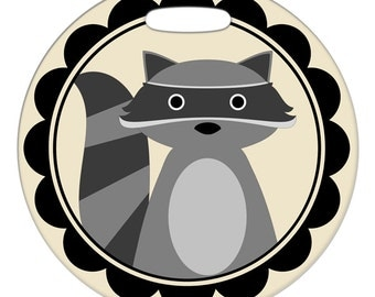 Luggage Tag - Rocky the Raccoon - 2.5 inch or 4 Inch Round Large Plastic Bag Tag