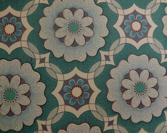Vintage turquoise wallpaper by the meter daisy Tudor rose teal blue