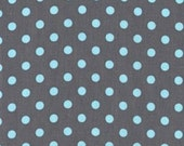 CLEARANCE 1.75 Yards Michael Miller Dumb Dots in Gray and Aqua