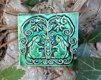 Baby Bunny Ceramic Tile in Forest Green