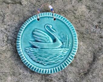 Serene Swan Tile in Lapis Blue