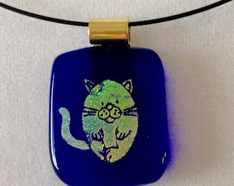 Small Dichroic Cat Pendant Necklace
