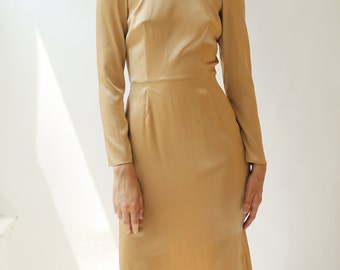 sample SALE long sleeve beige silk crepe dress