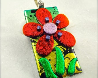 Daisy flower jewelry, Fused dichroic glass, daisy pendant, dichroic pendant, handmade jewelry, Hana Sakura, statement necklace, glass fusion