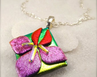 Dichroic glass, Iris flower jewelry, Flower pendant, Hana Sakura Designs, Fused glass jewelry, Fused dichroic, statement jewelry, trending