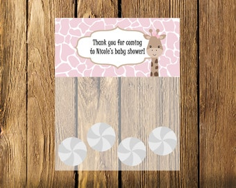 Printable Pink Giraffe Baby Shower Bag Toppers