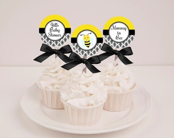 Printable Bee Baby Shower Cupcake Toppers