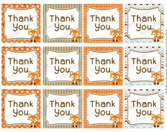 Printable Fox Baby Boy Shower Thank You Tags - Instant Download