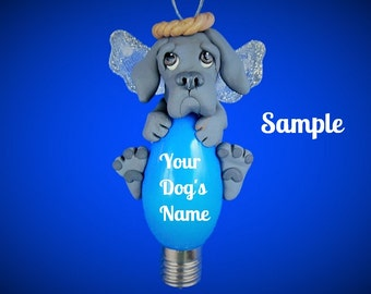Blue Great Dane Natural Ears Angel Dog Christmas Holidays Light Bulb Ornament Sally's Bits of Clay PERSONALIZED FREE with dog's name