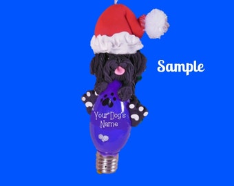 Black Puli Santa Dog Christmas Holidays Light Bulb Ornament Sally's Bits of Clay PERSONALIZED FREE with dog's name