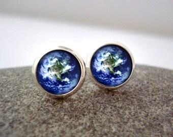 Earth Earrings - Tiny Silver Petite Solar System Stud Earrings - Galaxy Jewellery, Astronomy, Universe - Planet Post Earrings Pale Blue Dot