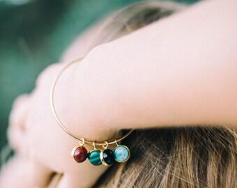Protective Charm Bracelet - Healing Stones, Semi Precious Gems - Birthstone Bracelet - Gold or Silver, Charm Cuff Bangle - Om Yoga Jewelry