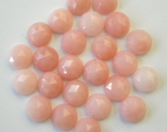 Gemstone Cabochons Opal Pink Rose Cut 6mm FOR TWO