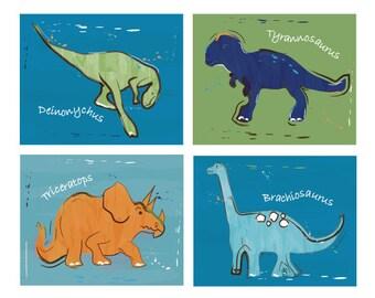 Dinosaur Art, Art Prints For Kids Dinosaur Bedding Wall Decor, 8 x 10 Unframed Art Dino Art for boys room decor