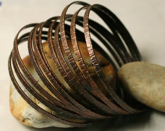 Stacking Bangle Bracelets , Bangle Set, Antique Copper Bangles, Hand Hammered Textured Bangles, one piece (item ID ACRN62)