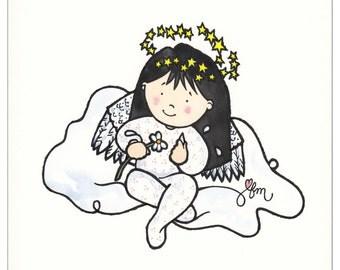 Loves Me, Loves Me, Loves Me print, Angel Print, Angel Picture, Angel, Daisy, Print from Watercolor, Children's Decor, Original Art, Print
