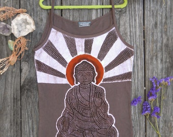 Raising Buddha spaghetti strap top, stretchy cotton batik, womens festival clothing, boho crop top, handdyed earth brown, hand drawn design