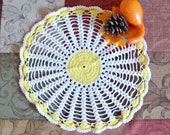 Hand crocheted doily, Vintage doily, white and yellow, cotton thread, craft supply, home decor, table mat, crochet scarf