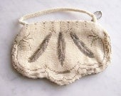 Vintage Ivory White Beaded Purse Bridal Clutch *Made in Czechoslovakia* 1930s Shabby Wedding Accessories