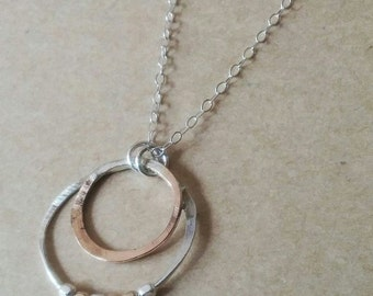 Sterling Silver and 14K Gold Filled Double Circle Spinnerette Necklace - As Seen on Law & Order - SVU