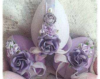 "Cottage Chic 3 Paper Mâché Easter Lavender 4"" EGGS Bowl Fillers Roses ECS schteam sct SVFTeam"