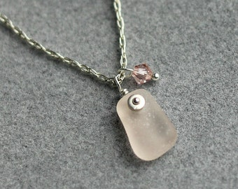 Pink Sea glass jewelry - Gift for her - Sea Glass necklace - Pink sea glass jewelry - Sterling necklace - Under 30 gift - Beach glass