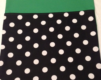 24 CHAIR POCKETS Durable black & white Cotton Polka dot print with kelly green backers