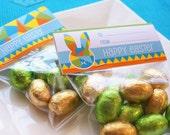 Instant Download - EASTER Treat Bag Toppers (Blue) DIY Printable