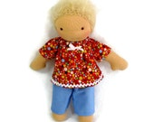 Orange dotty top and blue pants for thin 7 to 9 inch waldorf doll, 7 to 9 inch doll clothes, waldorf doll clothing