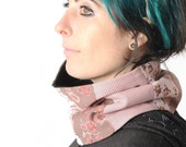 Pink patchwork cowl, womens pink snood, womens winter cowl in pink, Gift for her, Winter fashion accessory, MALAM