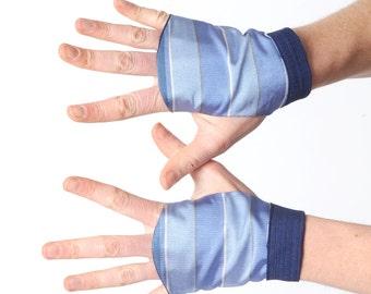 Blue fingerless gloves, Blue striped gloves, Blue silk fingerless gloves with stripes