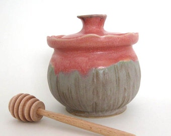 Honey Jar- Honey Pot - Condiment Jar - Cactus Flower - Wheel Thrown Pottery - Ready to Ship